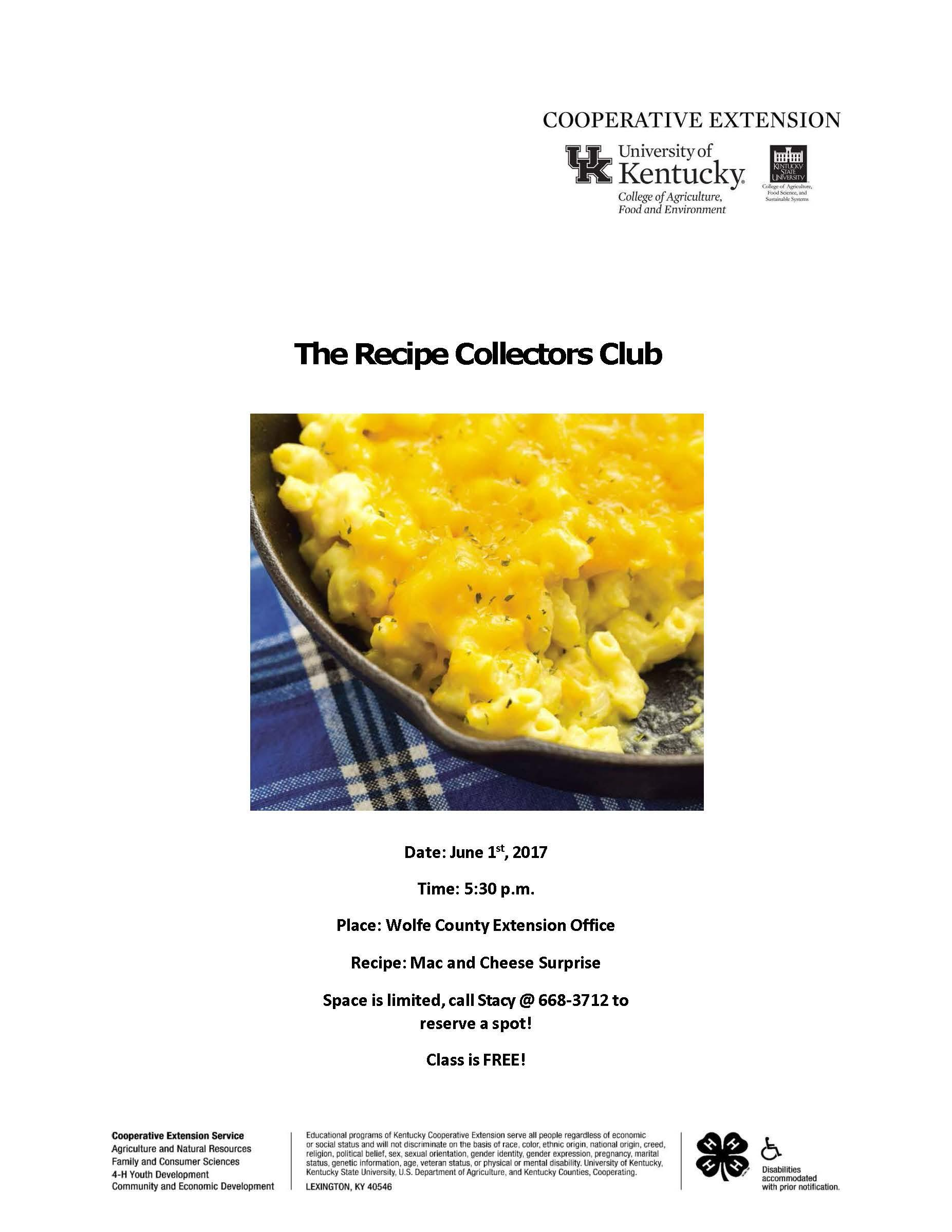 Recipe Collector Club June